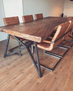 Made to measure steel table frame. Custom table (frame) Made to measure steel table fr Welded Furniture, Industrial Design Furniture, Steel Furniture, Furniture Design, Wood Slab Dining Table, Dining Table Design, Dining Room Table, Esstisch Design, Steel Table