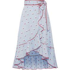 Marc Jacobs Ruffled fil coupé cotton wrap skirt ❤ liked. Frilly Skirt, Cotton Skirt, Ruffle Skirt, Flowy Skirt, Tie Skirt, Dress Skirt, Scarf Dress, Jupe Short, Embellished Skirt