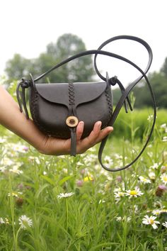 black leather bag. the wren in cherry wood by underthetreeithaca, $113.00