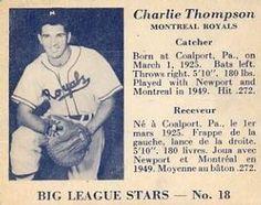 1950 Big League Stars (V362) #18 Charlie Thompson Front