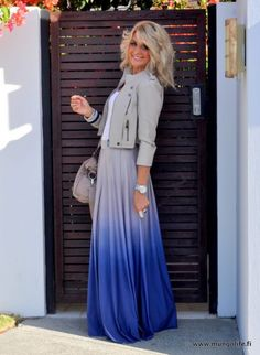 Jacket over white tank, and Ombre skirt Mungo 210-1