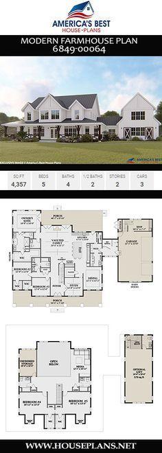 House Plans 2 Story, Best House Plans, Dream House Plans, Dream Houses, Farm Houses, 5 Bedroom House Plans, Large House Plans, Floor Plans 2 Story, 2 Story House Design