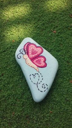 Butterfly painted on a Lake Huron beach stone by Cindy P 2017