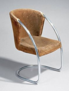 Jacques Adnet; Chromed Tubular Metal and Leather Chair, c1932.