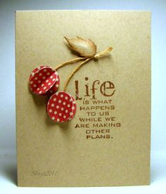 Hand stamped Cherry card...