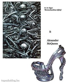 Painting by H.R.Giger, shoes by Alexander McQueen