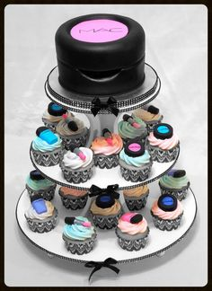 MAC makeup cupcake tower I want this for my birthday... That would be cool if the top can open and there would be mac makeup in it -makeup.
