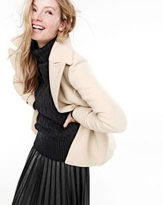J.Crew women's stadium-cloth majesty peacoat, cambridge cable chunky turtleneck sweater and faux-leather pleated mini skirt.