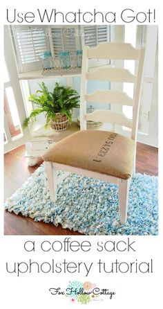 DIY Re Upholstery Tutorial. Burlap Look Coffee Sack Repurpose. Budget Home Decorating Tips with www.foxhollowcottage.com