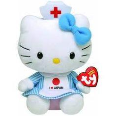 Hello kitty Ty Beany Baby pluche knuffel I LOVE JAPAN 15 cm