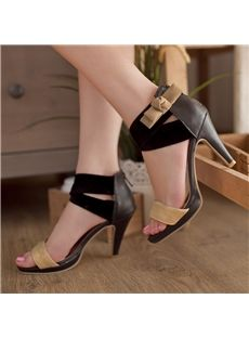 Sexy New Arrival PU Black Bow Knot High Heels Sandals
