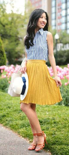 Zeliha's Blog: Yellow Pleated Skirts Top Stripes Crop Shirt