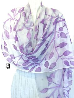 Hand Painted Silk Shawl, ETSY, Gift for women, White Scarf, Lavender Purple Woodcut Vine Leaves Scarf, Silk Chiffon Scarf, 22x90 inches