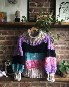 Ravelry: Mixed Media Sweater pattern by Heather Showstead Christmas Knitting Patterns, Sweater Knitting Patterns, Knitting Stitches, Knitting Yarn, Knit Patterns, Super Bulky Yarn, Knitting Projects, Knitting Ideas, Mixed Media