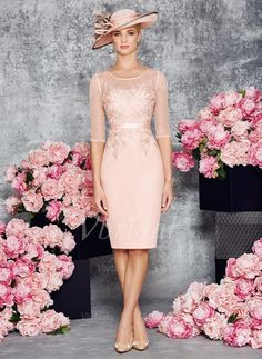 Etui-Linie U-Ausschnitt Knielang Applikationen Spitze Chiffon Reißverschluss Mit Ärmeln 1/2 Ärmel Ja Pearl Pink Frühling Sommer Herbst Übliche Kleid für die Brautmutter