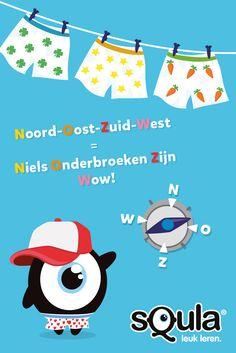 Met dit handige ezelsbruggetje van weekwinnaar Niels houd je de vier windrichtingen (Noord, Oost, Zuid, West) uit elkaar: Niels Zijn Onderbroeken zijn Wauw