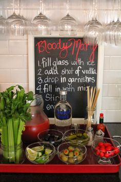 Bloody Mary Bar (Could do different flavor vodkas, a few different garnishes and then just one bloody mary mix)