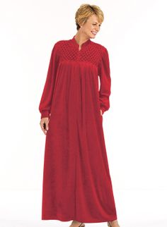 0580821002 Zip-Front Velour Robe at Amazon Women s Clothing store  Long Robes