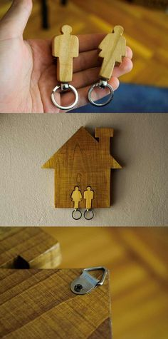 Wall keychain holder in shape of a house with two keychains, Women and Man shape, Couple keychains, Wall key holder, House shape, Key holder