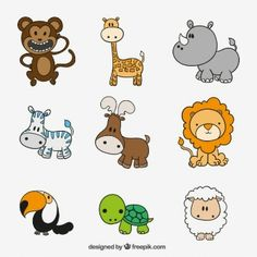 Collection of cute animals Premium Vector Cute Animal Drawings, Kawaii Drawings, Cartoon Drawings, Easy Drawings, Cute Animals With Funny Captions, Cute Baby Animals, Cute Animal Videos, Cute Animal Pictures, Phoenix Park
