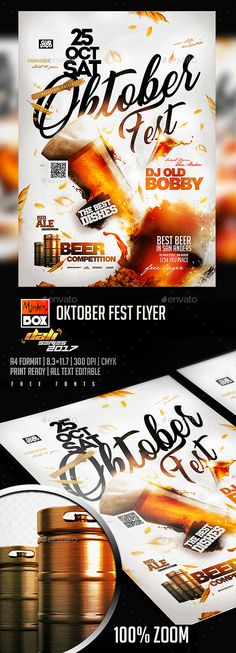 Oktober Fest Flyer — Photoshop PSD #bottle #retro • Available here ➝ https://graphicriver.net/item/oktober-fest-flyer/20713365?ref=pxcr