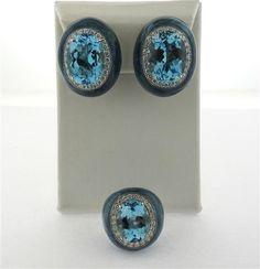 Impressive 18k Gold Diamond Topaz Enamel Earrings Ring Set Featured in our upcoming auction on September 13!