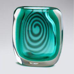HERMANN BONGARD; HADELAND - Green swirl vase, Norway, 1950s -  Cased glass/crystal, Signed - Mid Century Modern Art Glass Vase