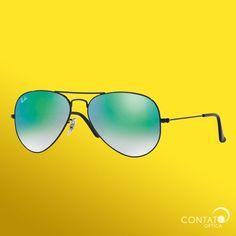 Contato Óptica - Ray-Ban RB3025 002/4J - óculos de sol verde espelhado aviador tradicional preto