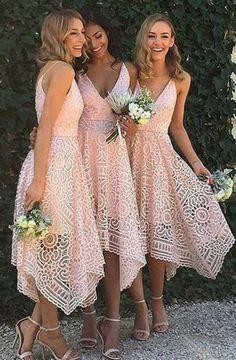 A-Line Spaghetti Straps Asymmetrical Pink Lace Bridesmaid Dress