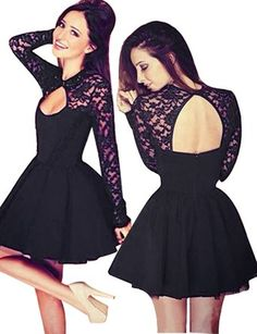 Little Hand Womens Casual Prom Sexy Short Lace Party Bodycon Slim Dress, Black2…