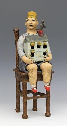 clay ceramic sculpture chair by sara swink  http://saraswink.com/artwork/2547669_House_on_Fire.html