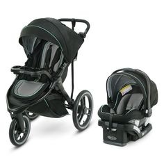 Graco® FitFold™ Jogger Stroller folds down to of its original size making it Graco's most compact folded jogging stroller. It also has a removable stroller seat to convert into a lightweight infant car seat carrier for more modes of use. Graco Infant Car Seat, Car Seat And Stroller, Baby Car Seats, Baby Jogger Stroller, Baby Strollers, Double Strollers, Travel System, Joggers, Nursery Room