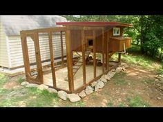 ▶ Backyard chickens - Chicken coop tour- Easy to clean - YouTube...I like the way he built the actual coop for easy cleaning (linoleum on the floor and the door opens all the way so you just use a hoe or flat shovel to slide everything out.)