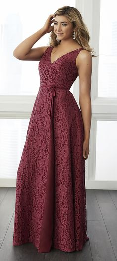 Order at After5FormalWear  This lace gown features a draped lace bodice with a button up back and a true wrap skirt. The waist is finished with a thin satin belt. #after5formalwear #Bridesmaids # #Www.afterfiveformals.com