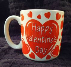 Happy-Valentines-Day-Hearts-Love-White-Red-Ceramic-10-oz-Coffee-Cup-Mug-Vintage
