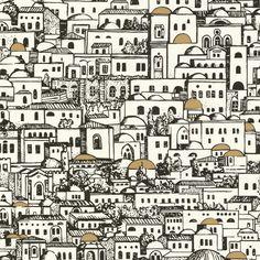 Cole And Son Mediterranea Wallpaper by Piero Fornasetti Fornasetti Wallpaper, Piero Fornasetti, Print Wallpaper, Home Wallpaper, Cityscape Wallpaper, Nursery Wallpaper, Wallpaper Decor, Mediterranean Wallpaper, Architecture Sketches
