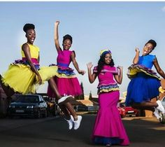They just exude happiness! The outfits are nice too. Sepedi Traditional Dresses, African Fashion Traditional, Traditional Wedding Attire, African Traditional Wedding, African Bridesmaid Dresses, African Wedding Attire, African Attire, African Dress, Latest African Fashion Dresses