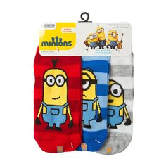 Despicable Me Minions No Show Striped Socks Set of 3  1bd0247002