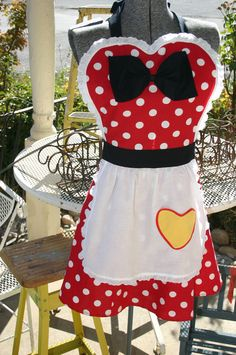 MINNIE MOUSE costume full APRON for women Disney inspired Party Hostess Red Polka Dot Christmas gift.. $35.99, via Etsy.