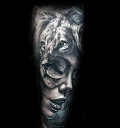 Female Portrait With Lion Mens Forearm Sleeve Tattoo Design Ideas