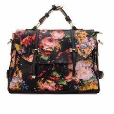 Women Oil Painting Floral Message Bag Handbag