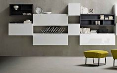 Steel Shelving With Yellow Chair ~ http://lanewstalk.com/shelving-design-for-beautiful-house/;