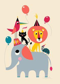 "Køb Omm Design: Plakat ""Animal Party"" af Ingela Arrhenius (50 x 70 cm) her - Mimi´s Circus"