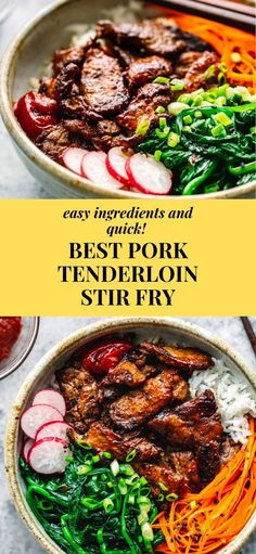 Best Pork Loin Stir Fry with Asian Sauce! Amazing flavor, quick and affordable! Best Pork Loin Stir Fry with Asian Sauce! Amazing flavor, quick and affordable! Easy Pork Tenderloin Recipes, Fried Pork Tenderloin, Pork Recipes, Asian Recipes, Pork Loin, Pork Stirfry Recipes, Quick Recipes, Sauce Pour Porc, Asian Bowls