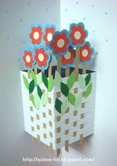 Lin Handmade Greetings Card: Pop Up Cards Pop Up Greeting Cards, Pop Up Cards, Origami, Handmade Greetings, Greeting Cards Handmade, Flower Cards, Paper Flowers, Paper Pop, Karten Diy