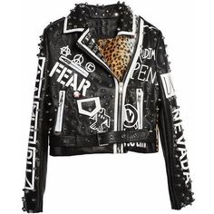 Leather Leopard Sex Pistol Punk Moto Jacket Shop Elettra (€180) ❤ liked on Polyvore featuring outerwear, jackets, motorcycle jacket, leopard print jacket, leather jackets, leather biker jackets and leopard jacket