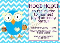 Giggle and Hoot Owl Inspired Personalised birthday invites!  Digital image purchase- print as many as you need!! -Karma by Carmelina