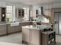 American fridge freezer with Belfast sink; I love the floor in this neutral style kitchen.