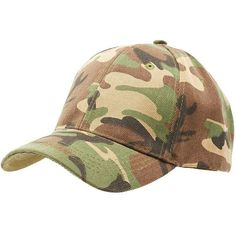 Charlotte Russe Camo Baseball Hat ($8.99) ❤ liked on Polyvore featuring accessories, hats, brown combo, ball cap, cap hats, camouflage cap, camouflage baseball cap and camouflage baseball hats