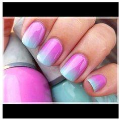 Pink to blue fade. A little tie-dye inspiration. Sasha Helim. Fashion Illustration.: Nails Inspo